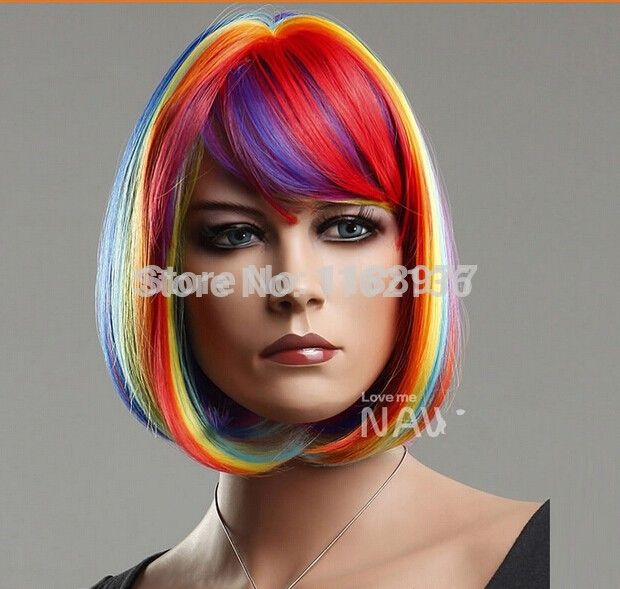 Cheap wigs sexy, Buy Quality wig cap long hair directly from China wig cap Suppliers: HOT Bobo Head Style Rainbow Wigs High Quality Synthetic Straight Multi-colored Hair Wig 100% kanekalon Fashion Style In Stock