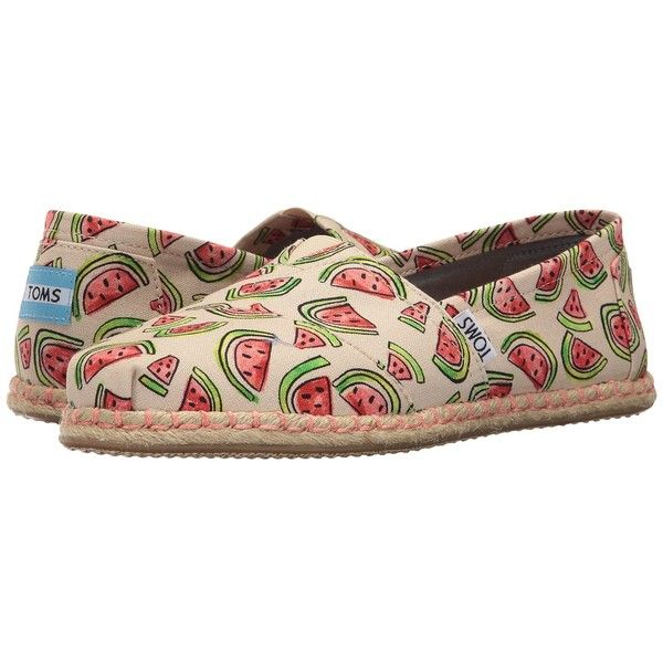 TOMS Seasonal Classics (Natural/Pink Watermelon Rope Sole) Women's... ($59) ❤ liked on Polyvore featuring shoes, boots, toms shoes, pull on boots, glitter shoes, roper boots and pink shoes