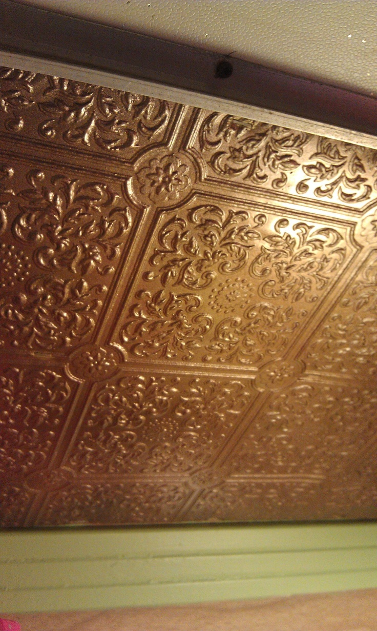 Ceiling Backsplash Idea Wallpaper Painted Metallic