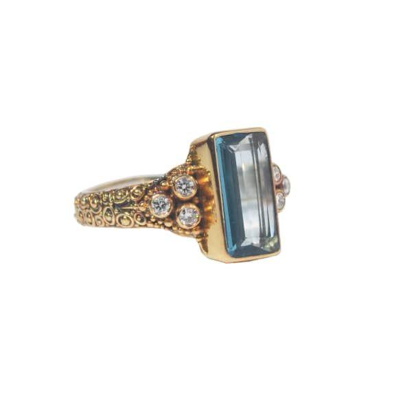 Mystic Box Ring Gold Blue Topaz & Diamonds | Van Andel & Peace Fine Jewellery | Wolf & Badger