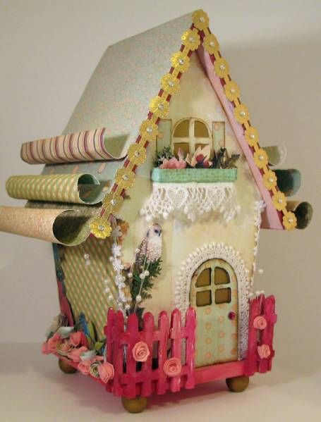 Webster's Pages Altered Bird House by MichelleBowley - Cards and Paper Crafts at Splitcoaststampers - I love the curly roof