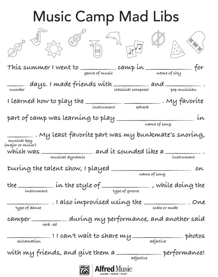 It's just a graphic of Delicate Mad Libs Sheets
