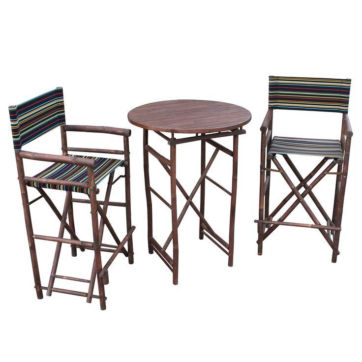 Zew Espresso Handcrafted Round Bar Height Pub Set