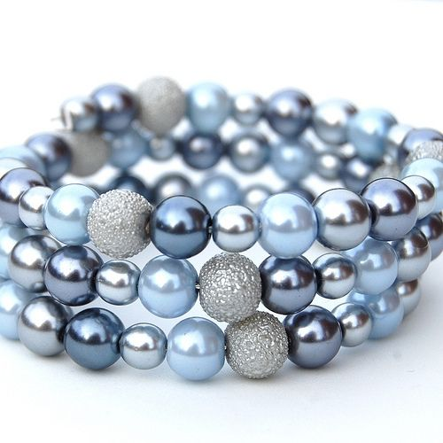 Blue, Grey and Silver Pearls Memory Wire Bracelet   Flickr - Photo Sharing!