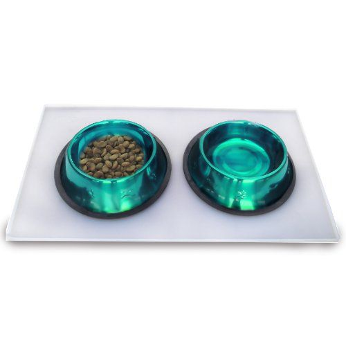 Platinum Pets 3 Cup Embossed NonTip Stainless Steel Dog Bowls with Clear Feeding Mat Caribbean Teal -- You can find more details by visiting the image link.