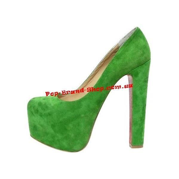 Зеленые замшевые туфли christian loubutin