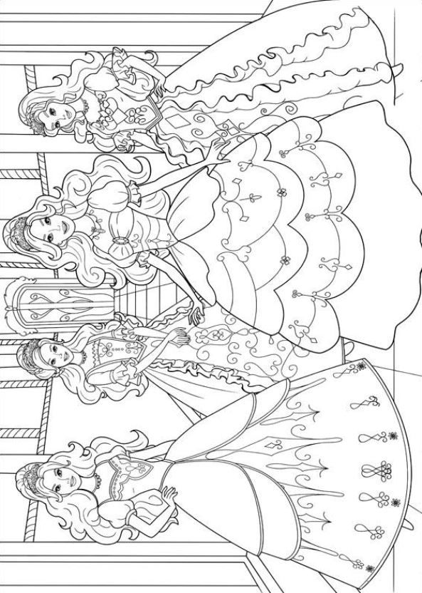 Barbie and the three Musketeers coloring pages on Coloring-Book.info | 832x593