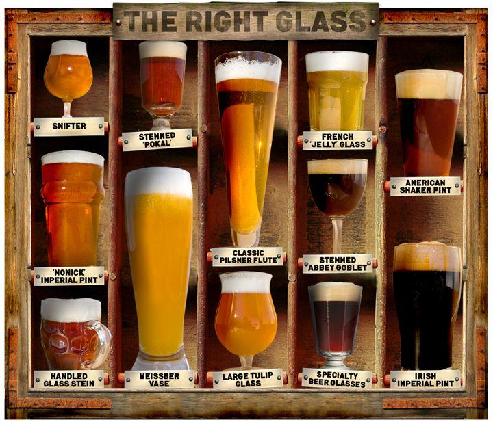 Copos diferentes para diferentes tipos de cerveja.