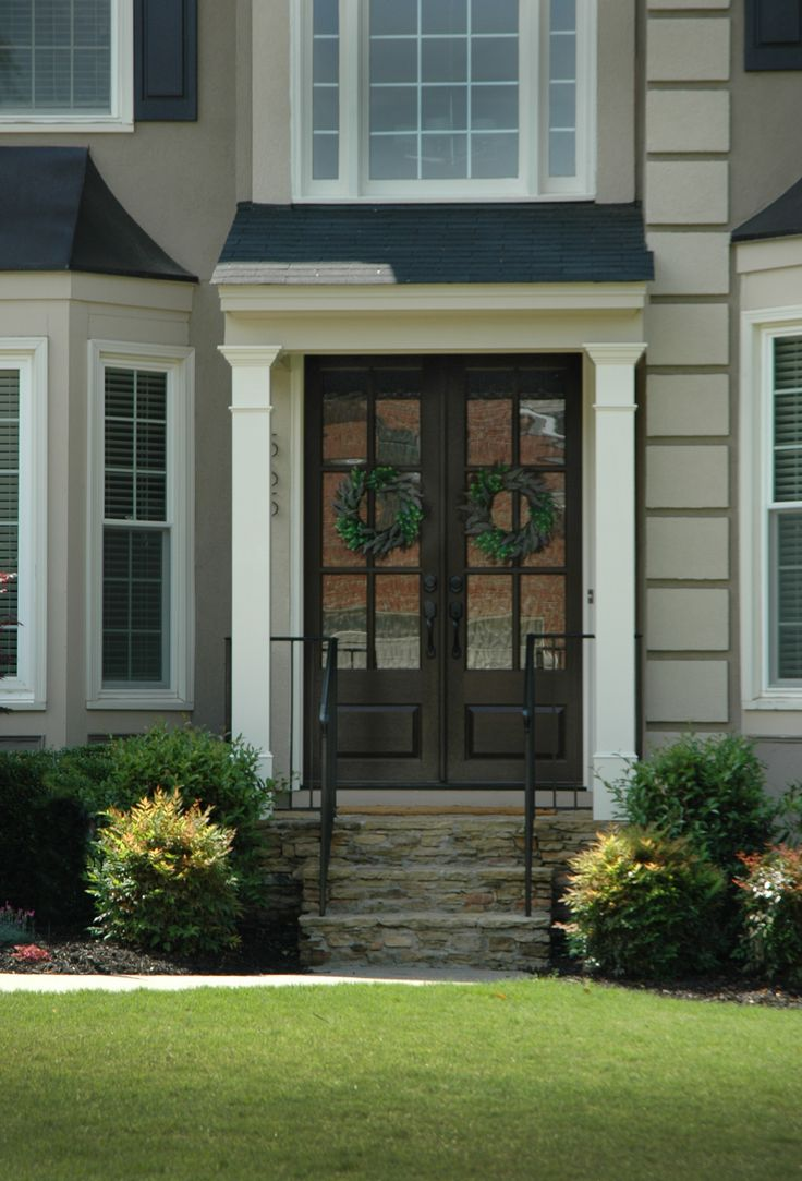 1000 images about economical flat roof porticos on for Georgia front porch