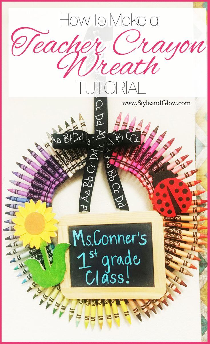How to Make a Teacher Crayon Wreath | Teacher Appreciation Gift Ideas | Easy #DIY Tutorial.