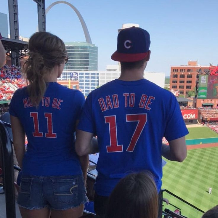 Our first pregnancy announcement. We had 20 family members at the baseball game and wore jerseys over our reveal tshirts. After awhile we took the jerseys off, stood in front of the family, and waited for them to notice! Everyone was so shocked and loved it!!!