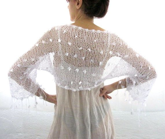 """COTTON SHRUG Elegant Hand Knitted Summer Shrug. I want this shrug. It reminds me of the one Merle Streep wore in the movie """"It's Complicated"""". Where can I get this piece?  Anyone know?   B."""