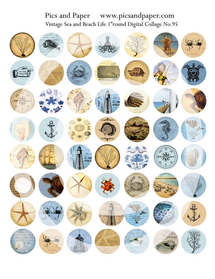 "Bottle Cap Images 1"" round circle Vintage Sea and Beach, Ocean  Life Digital Collage Sheet No.95 Buy 2 get 1 free"