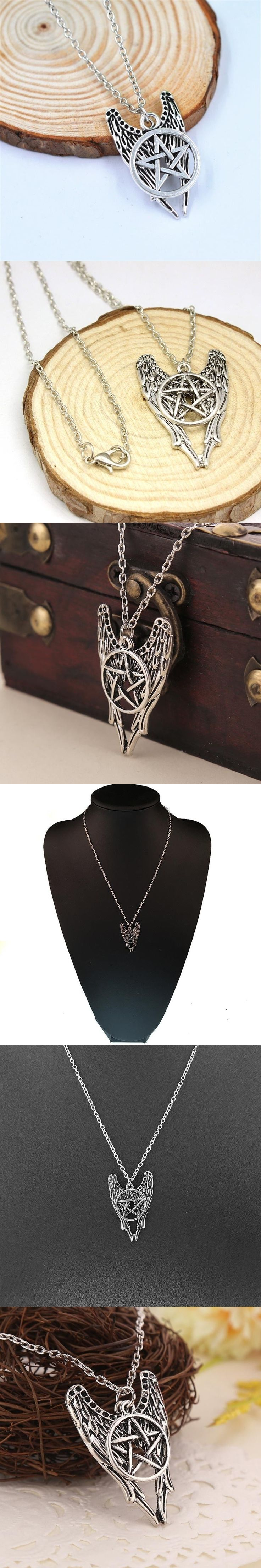Engel Pentagramm Amulett Winchester Inspire Supernatural-Anhanger-Halskette Styling Accessory