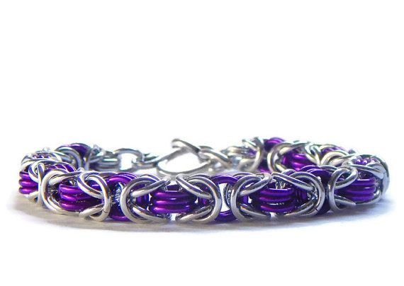 Chainmail Link Bracelet in Violet Purple and Silver / Chain Maille by ChainMettle