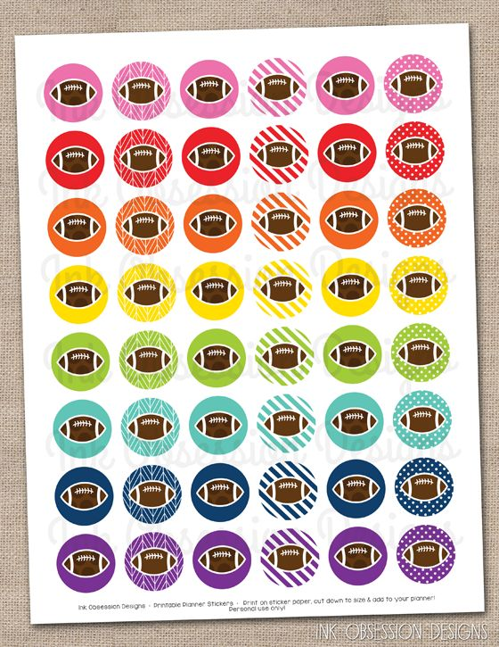 Football Planner Stickers Instant Download DIY Printable PDF for Games Practice & Parties