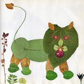 para los peques animalitos con hojas naturales