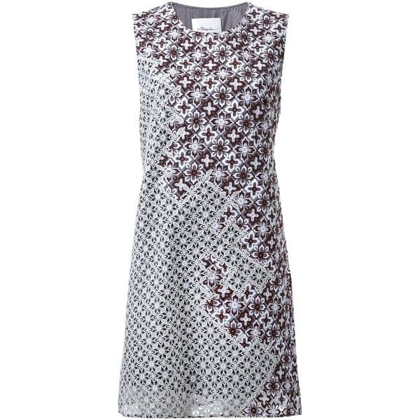 3.1 Phillip Lim Lace Patchwork Sheath Dress (1,715 CAD) ❤ liked on Polyvore featuring dresses, grey, short lace dress, loose dress, lace dress, short sleeveless dress and grey lace dress