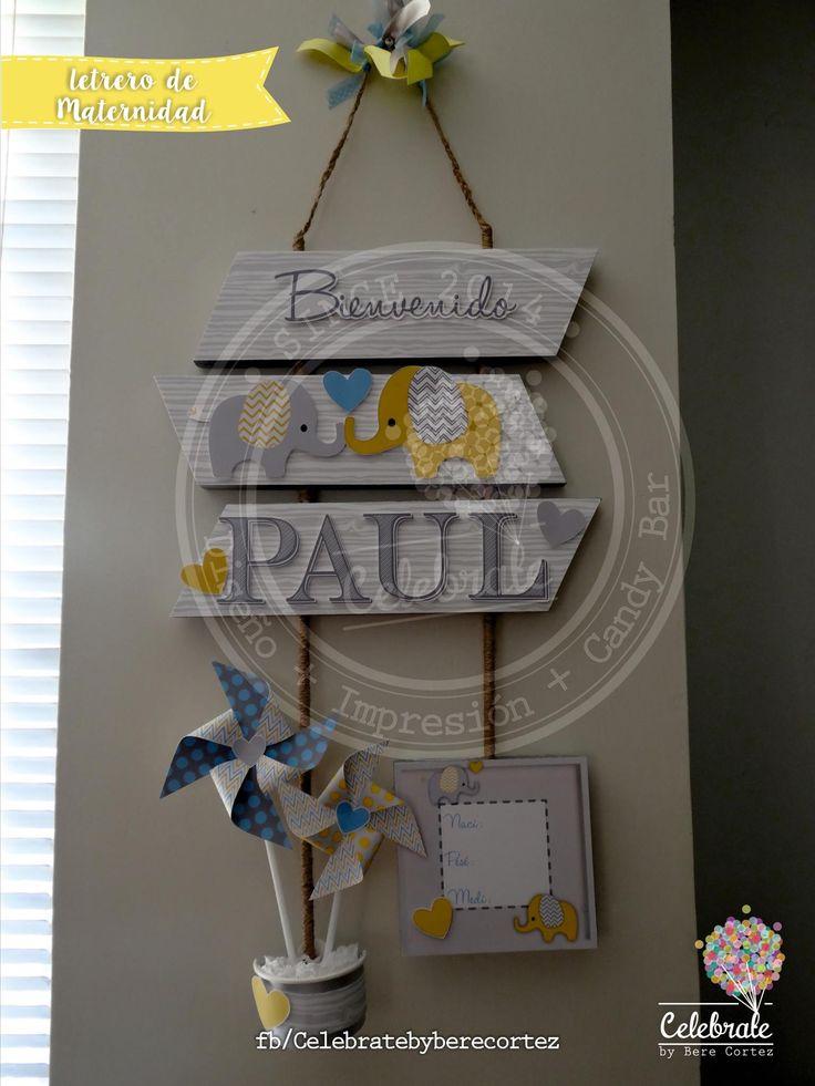 Banner de maternidad, letrero para puerta de hospital, amarillo, yellow, Gray, Baby blue, amarillo, gris, celeste nursery, maternidad, bienvenida al bebé, welcome Little Baby