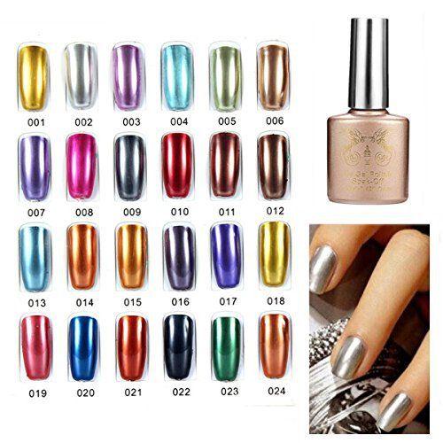 Bluelover 24 Couleurs Soak Off Metal Color UV Gel Vernis à ongles: Très bel effet de miroir de couleur en métal Ce genre de métal vernis UV…