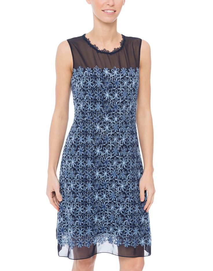 Elie Tahari's Ophelia dress will be the perfect addition to your new season dress wardrobe. This piece is designed with various shades of blue embroidered floral detailing that adds a feminine touch. Cut in an A-line silhouette, this dress will surely flatter any figure. Style yours with pearl accessories and a neutral clutch for the perfect cocktail party ensemble.