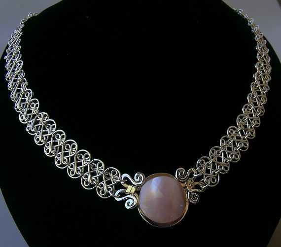 Sterling silver nacre mesh necklace silver mesh mother by Almendro