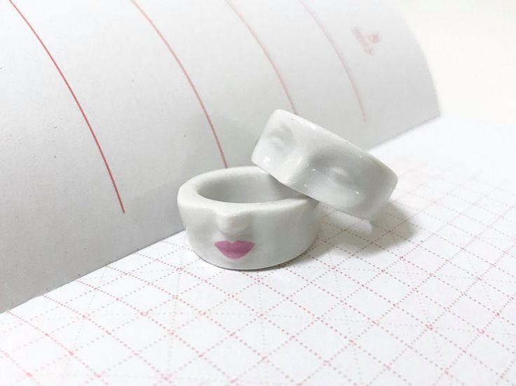 white porcelain ring head ring ceramic porcelain by SHporcelain