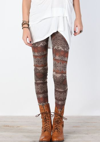 leggings and boots: Knits Legs, Outfits, Fashion, Prints Tights, Aztec Prints, Prints Legs, Leggings, Patterns Legs, Combat Boots