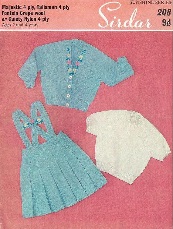 PDF Vintage Baby Girl Knitting Pattern 1960s Sirdar 208