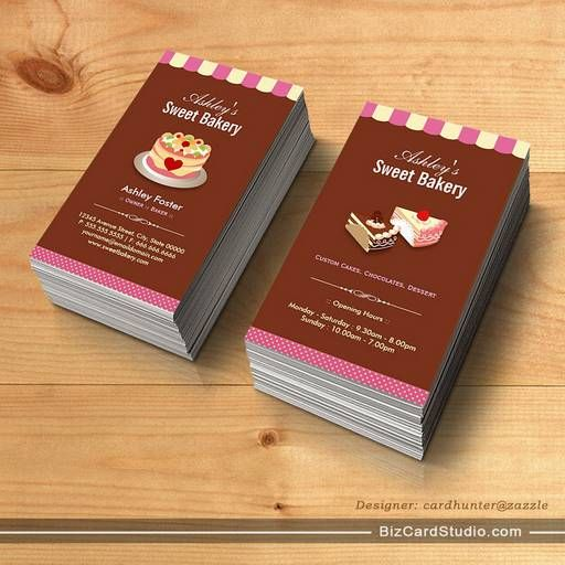 16 best business cards images on pinterest business card design sweet bakery shop custom cakes chocolates pastry business card templates reheart Image collections