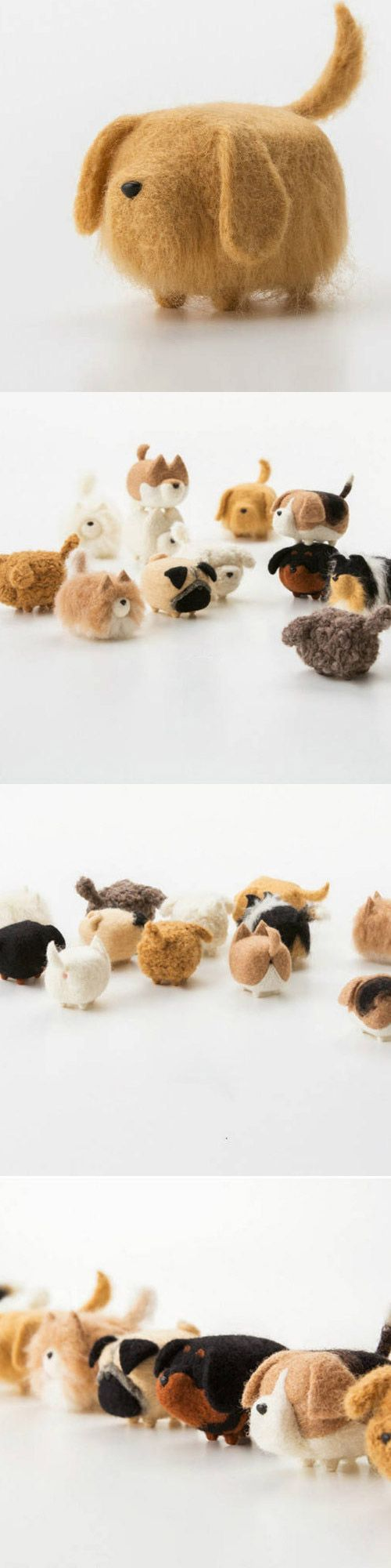 Handmade felted felting project cute animal Golden Retriever dogs puppy felted wool doll