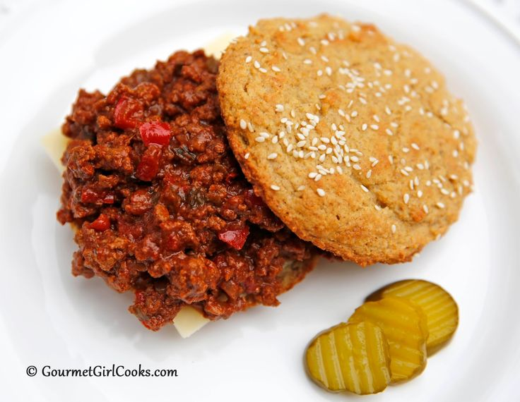 """Gourmet Girl Cooks: Easy Sloppy Joes - Low Carb & """"From Scratch"""" with Sesame Seed Sandwich Buns"""