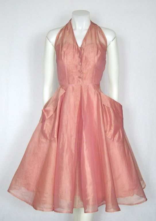 VINTAGE 1950s Rose Pink Organza Party Dress image 2