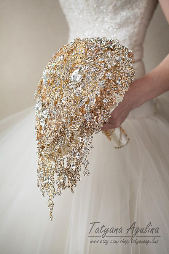 Gold Wedding Bouquet Brooch Bouquet Wedding Gold Bouquet, Cascading Bouquet, Broach Bouquet Jewelry Bouquet Bridesmaid Bouquet Ivory Bouquet Stunning full crystal ivory and golden brooch bouquet was made for one of my wonderful clients. This beautiful wedding broach bouquet became the