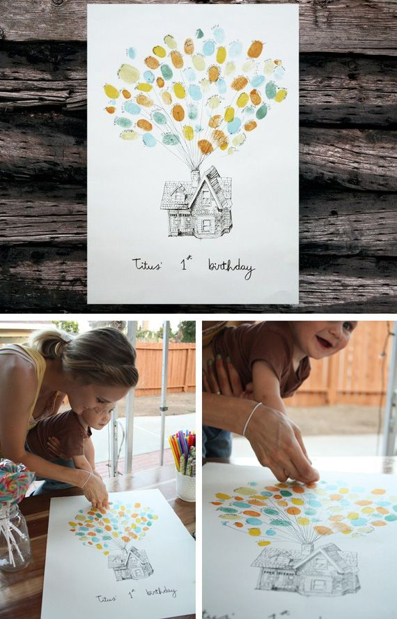 Up birthday party- everyone signs guestbook with finger print
