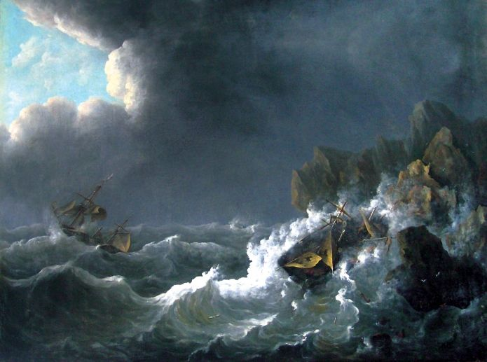 """""""A Ship was Hit by a Storm"""", Raden Saleh Syarif Bustaman's paint, created in 1837."""