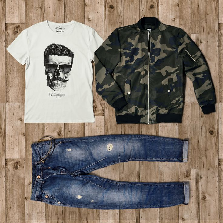 #3GUYS Spring/Summer 2017 Outfit. #tshirt #jacket #jean #bomber