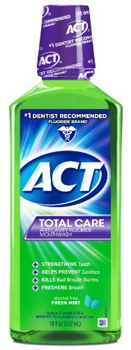 #dental #ACT #total care fresh mint is an anticavity fluoride mouthwash that also strengthens teeth, helps prevent cavities, kills bad breath germs and freshens b...