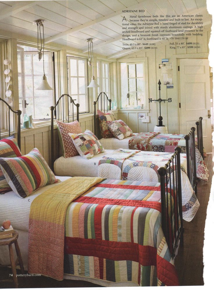 quilts  Oh, what a great bedroom and all the beautiful quilts.  This would be so fun for the grandchildren's quest room.