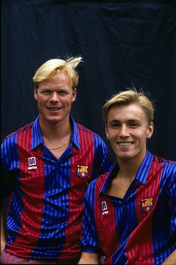 Ronald Koeman  and Richard Witschge during a photoshoot at the season 1991-1992 at Barcelona, Spain.