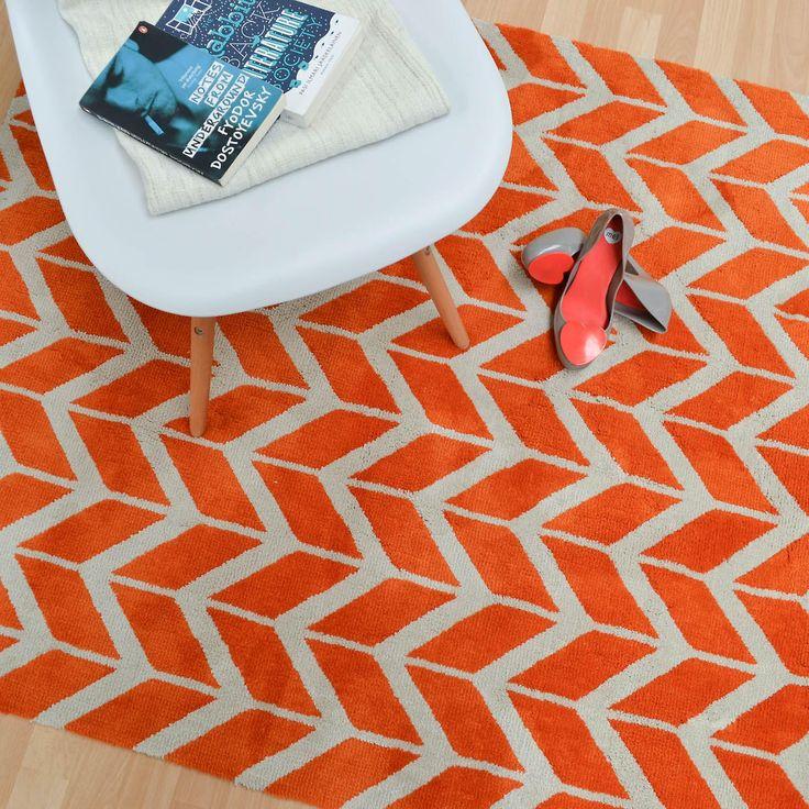 Arlo Chevron Teppiche Ar07 In Orange | Fruugo