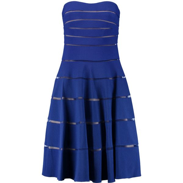 Mikael Aghal - Bandeau Mesh-paneled Ribbed Stretch-jersey Dress ($193) ❤ liked on Polyvore featuring dresses, royal blue, couture cocktail dresses, multi color dress, blue dress, sparkly cocktail dresses and electric blue dress