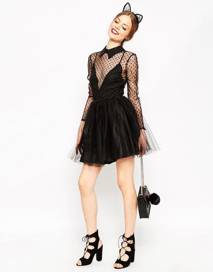 Image 4 ofASOS Lace Netted Prom Mini Skater Dress