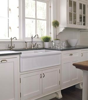 Apron Sink White Cabinets Dark Counter Tops Kitchen