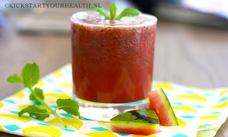 Watermeloen smoothie met munt