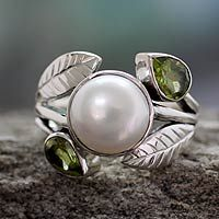 Cultured pearl and peridot cocktail ring, 'Mumbai Romance'
