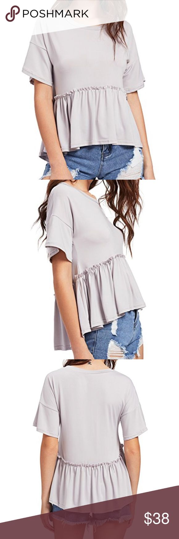 ✨Pre-Order - NEW Casual & Trendy Tee Perfect to throw on with a pair of jeans or leggings. This is a high low peplum top - meaning it's longer in the back and slightly shorter in the front, but not like a crop top. This is how the style is. I have more colors coming : Grey, Black, Red, Olive ... 🖤  BUNDLE TO SAVE ‼️ BUNDLE 2+ FOR FREE SHIPPING ‼️  100% Polyester Tops Tees - Short Sleeve