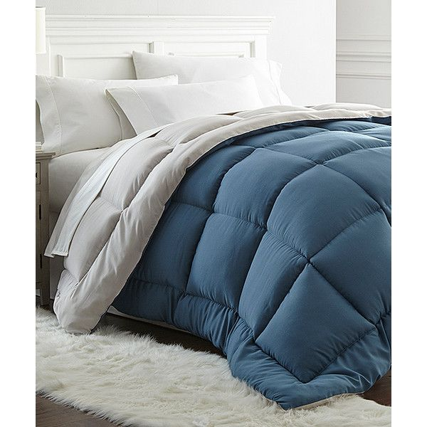 Spirit Linen Navy & Silver Hotel 5th™ Reversible Down-Alternative... ($28) ❤ liked on Polyvore featuring home, bed & bath, bedding, comforters, navy blue comforter, navy comforter, machine washable comforter, reversible bedding and navy blue bedding