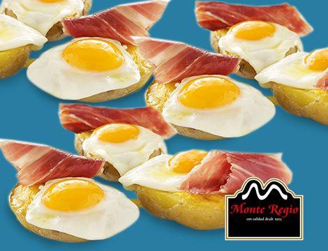 Patatas rellenas de jamón ibérico #MonteRegio y huevo de codorniz