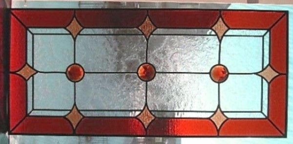 Red Jewel Stained Glass 1940's Vintage Chicago Prairie  Window Custom Sizes OK